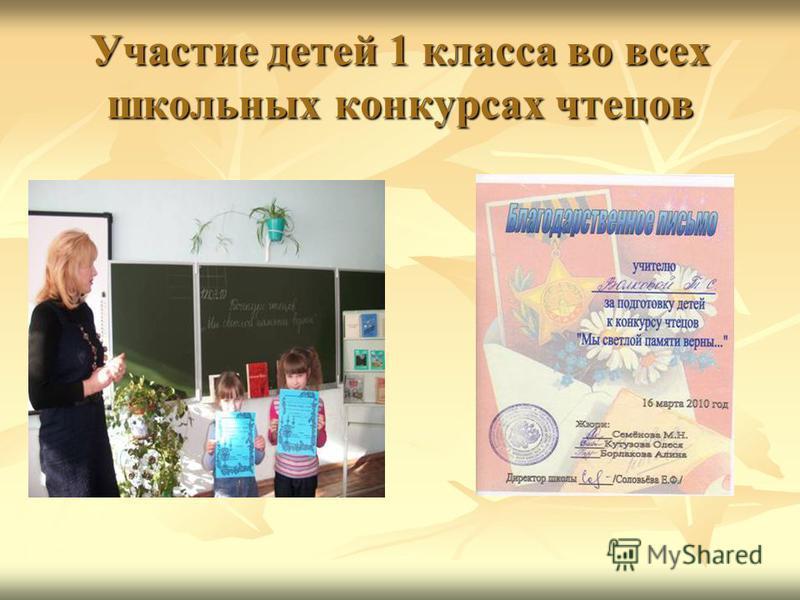 Участие детей 1 класса во всех школьных конкурсах чтецов