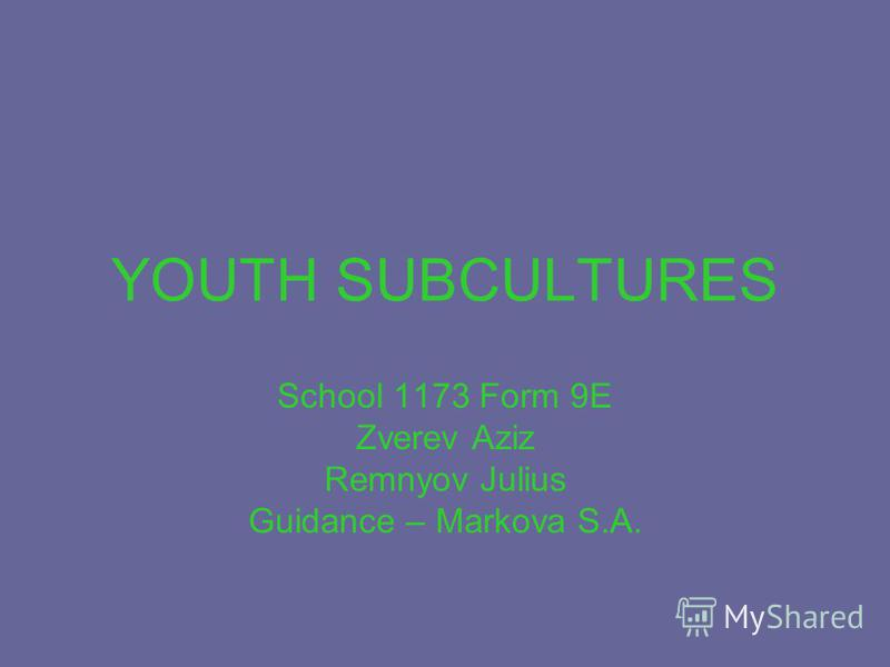 YOUTH SUBCULTURES School 1173 Form 9E Zverev Aziz Remnyov Julius Guidance – Markova S.A.