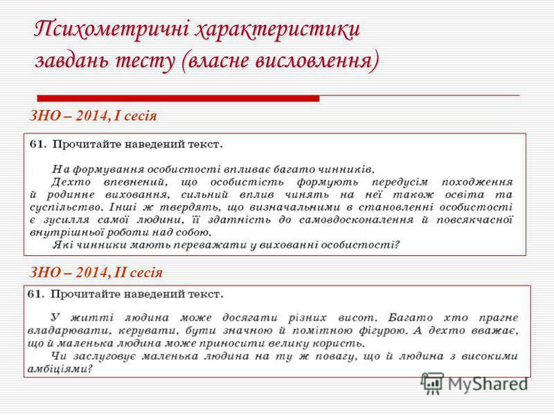 Психометричні характеристики завдань тесту (власне висловлення) ЗНО – 2014, І сесія ЗНО – 2014, ІІ сесія