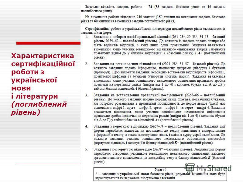Характеристика сертифікаційної роботи з української мови і літератури (поглиблений рівень)