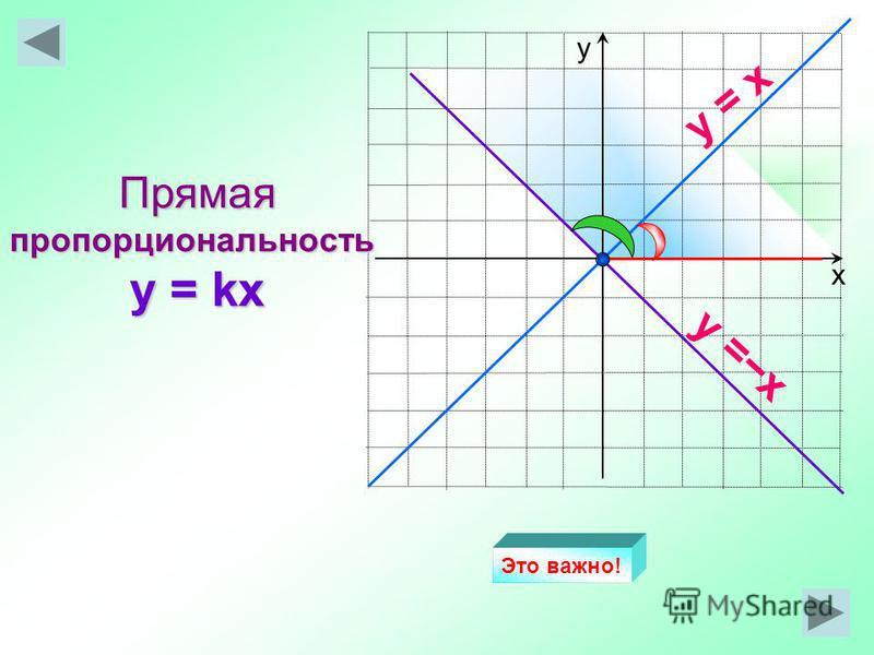 х у Прямая пропорциональность y = kx y = x Это важно!