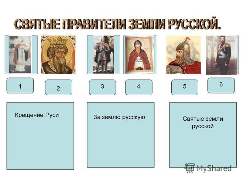 1 2 435 6 Крещение Руси За землю русскую Святые земли русской