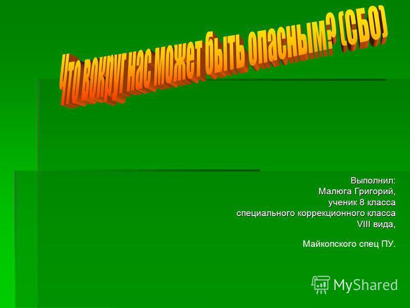 Выполнил: Малюга Григорий, ученик 8 класса специального коррекционного класса VIII вида, Майкопского спец ПУ.