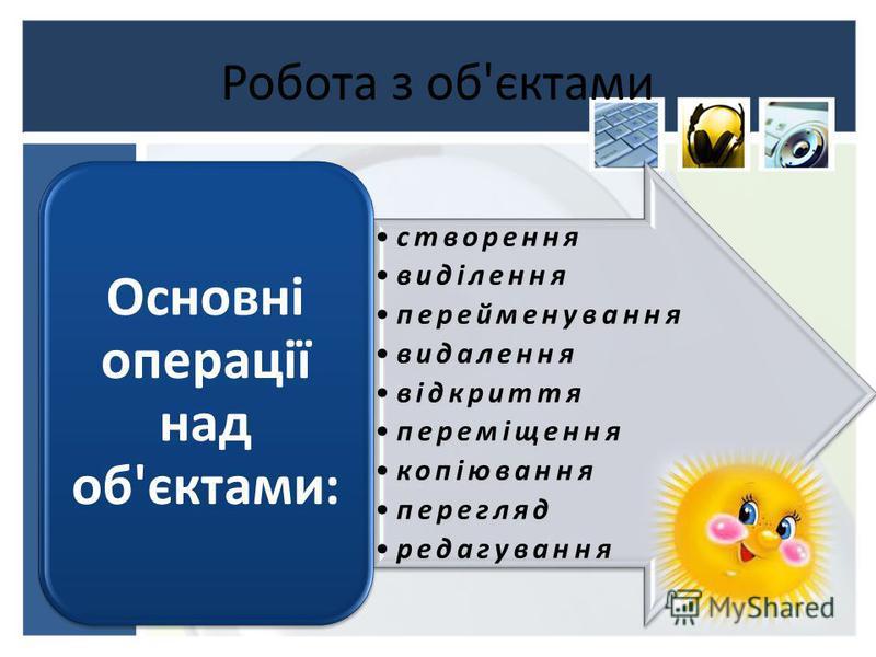 Робота з об'єктами створення виділення перейменування видалення відкриття переміщення копіювання перегляд редагування Основні операції над об'єктами:
