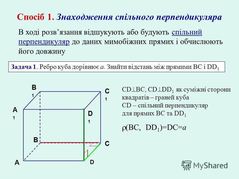 Спосіб 1. Знаходження спільного перпендикуляра В ході розвязання відшукують або будують спільний перпендикуляр до даних мимобіжних прямих і обчислюють його довжину Задача 1. Ребро куба дорівнює а. Знайти відстань між прямими ВC і DD 1 A A1A1 B C D B1