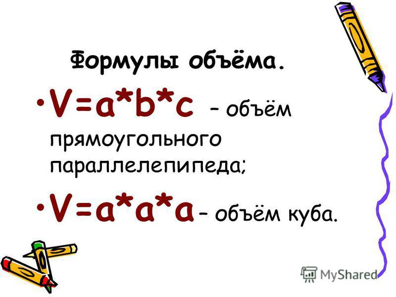 Формулы объёма. V=a*b*c – объём прямоугольного параллелепипеда; V=a*a*a – объём куба.