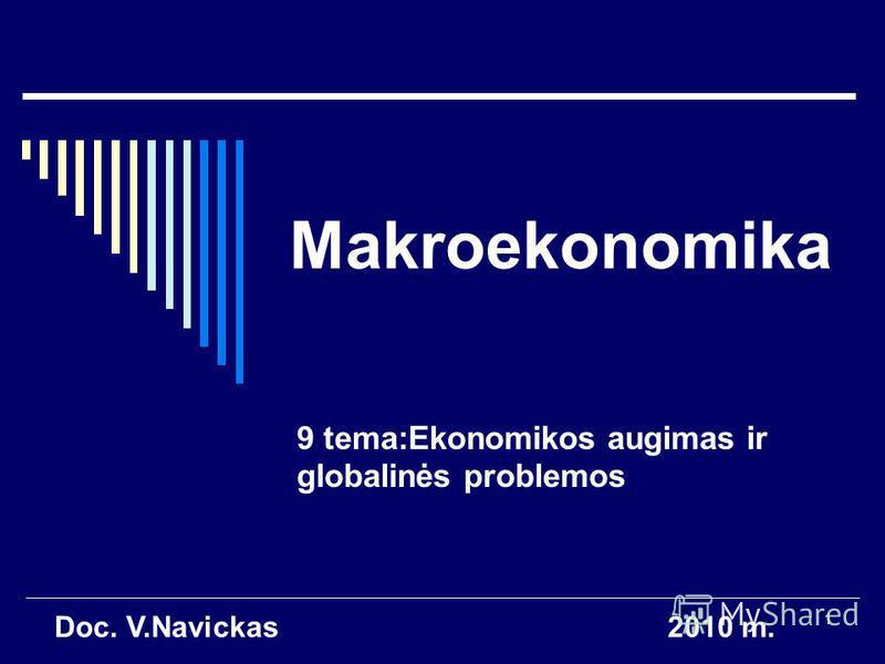 1 Makroekonomika 9 tema:Ekonomikos augimas ir globalinės problemos Doc. V.Navickas2010 m.
