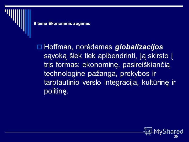 29 9 tema Ekonominis augimas Hoffman, norėdamas globalizacijos sąvoką šiek tiek apibendrinti, ją skirsto į tris formas: ekonominę, pasireiškiančią technologine pažanga, prekybos ir tarptautinio verslo integracija, kultūrinę ir politinę.