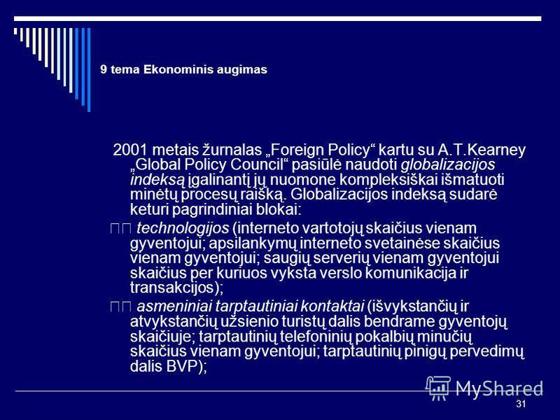 31 9 tema Ekonominis augimas 2001 metais žurnalas Foreign Policy kartu su A.T.Kearney Global Policy Council pasiūlė naudoti globalizacijos indeksą įgalinantį jų nuomone kompleksiškai išmatuoti minėtų procesų raišką. Globalizacijos indeksą sudarė ketu