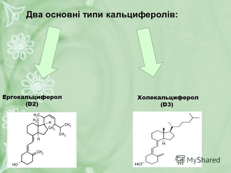 Ергокальциферол (D2) Холекальциферол (D3) Два основні типи кальциферолів: