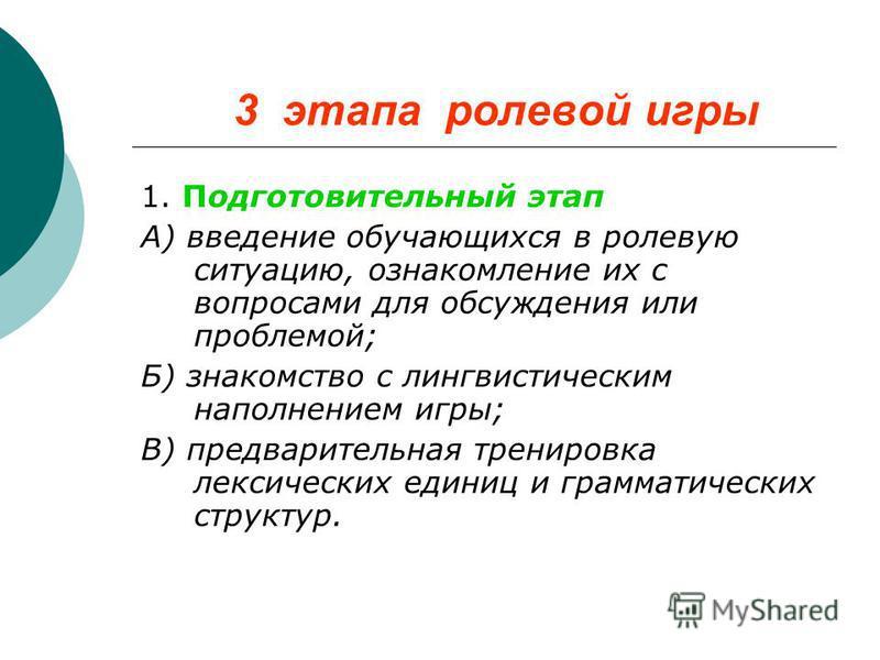 3 этапа ролевой игры 1. Подготовительный этап А) введение обучающихся в ролевую ситуацию, ознакомление их с вопросами для обсуждения или проблемой; Б) знакомство с лингвистическим наполнением игры; В) предварительная тренировка лексических единиц и г