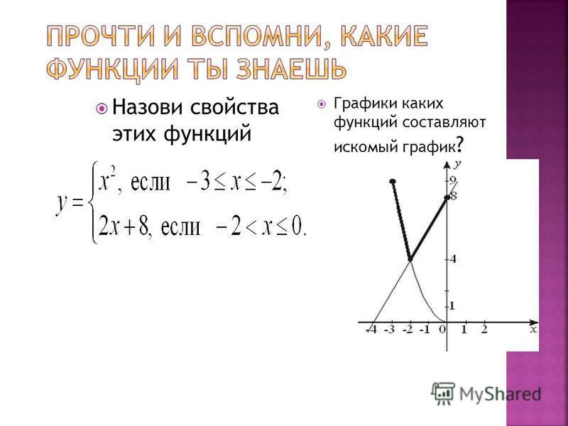 Назови свойства этих функций Графики каких функций составляют искомый график ?