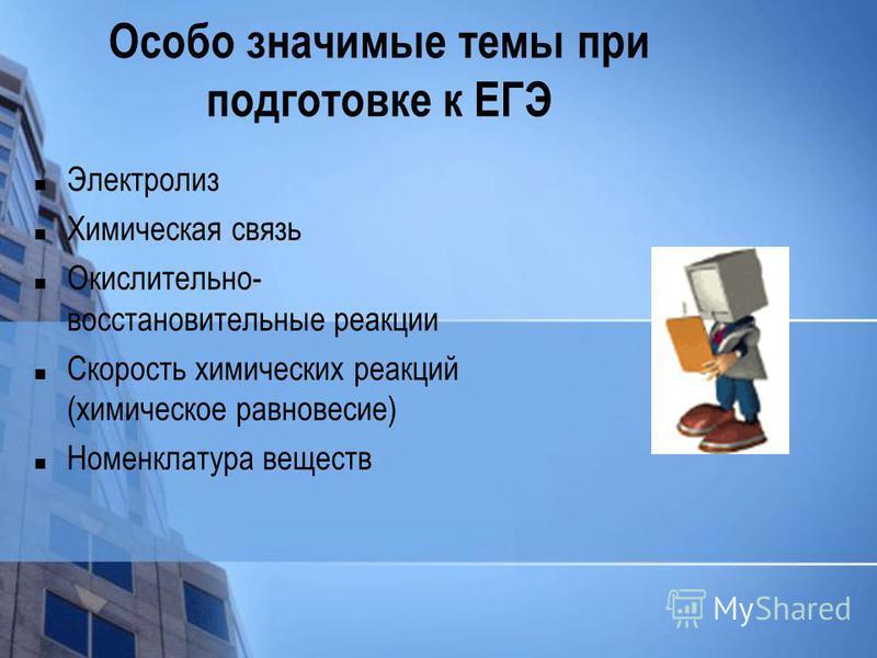 Особо значимые темы при подготовке к ЕГЭ Электролиз Химическая связь Окислительно- восстановительные реакции Скорость химических реакций (химическое равновесие) Номенклатура веществ