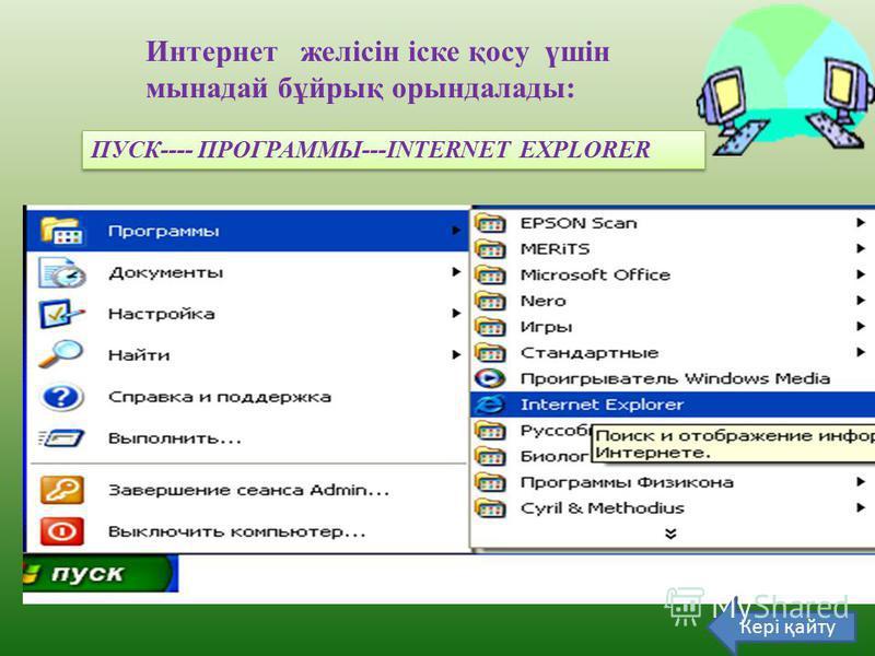 Интернет желісін іске қосу үшін мынадай бұйрық орындалады: ПУСК---- ПРОГРАММЫ---INTERNET EXPLORER Кері қайту