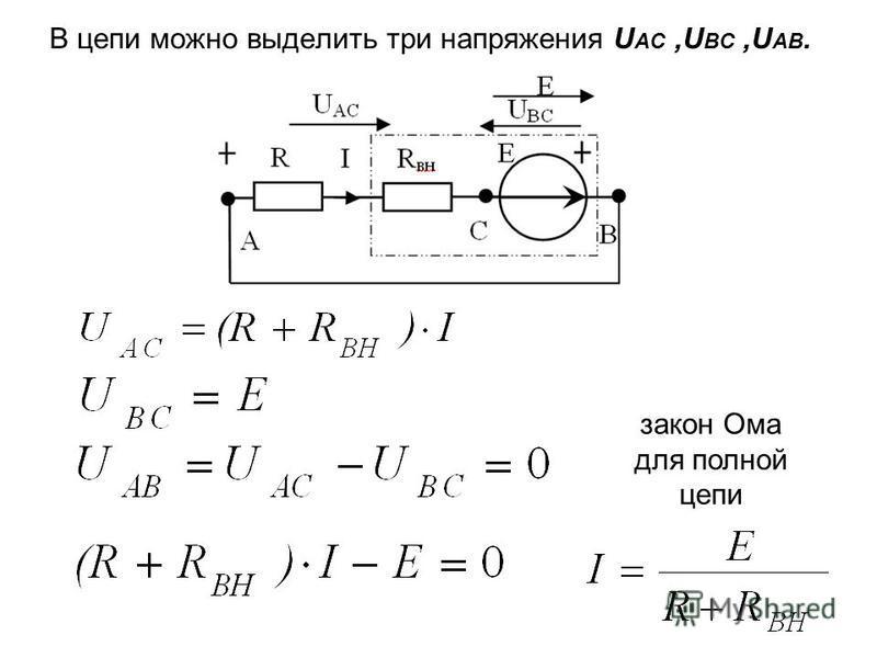 В цепи можно выделить три напряжения U AC,U BC,U АB. закон Ома для полной цепи