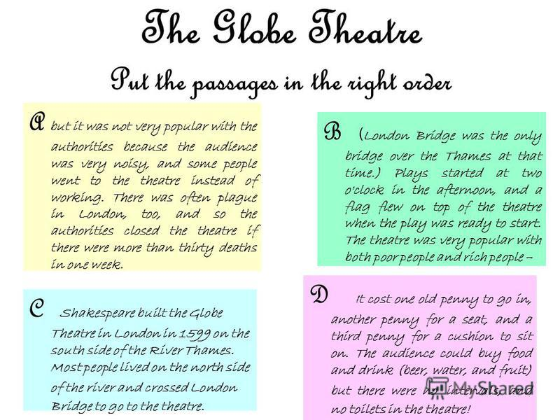 The Globe Theatre Put the passages in the right order D It cost one old penny to go in, another penny for a seat, and a third penny for a cushion to sit on. The audience could buy food and drink (beer, water, and fruit) but there were no intervals, a