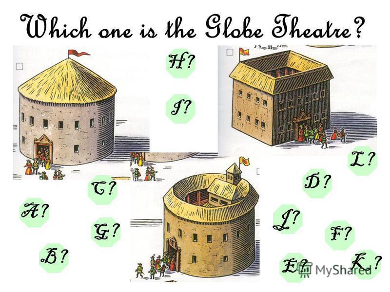 Which one is the Globe Theatre? A? B? G? E? F? D? J? L? C? K? H? I?