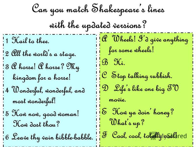 Can you match Shakespeares lines with the updated versions? 1 Hail to thee. 2 All the worlds a stage. 3 A horse! A horse? My kingdom for a horse! 4 Wonderful, wonderful, and most wonderful! 5 How now, good woman! How dost thou? 6 Leave thy vain bibbl