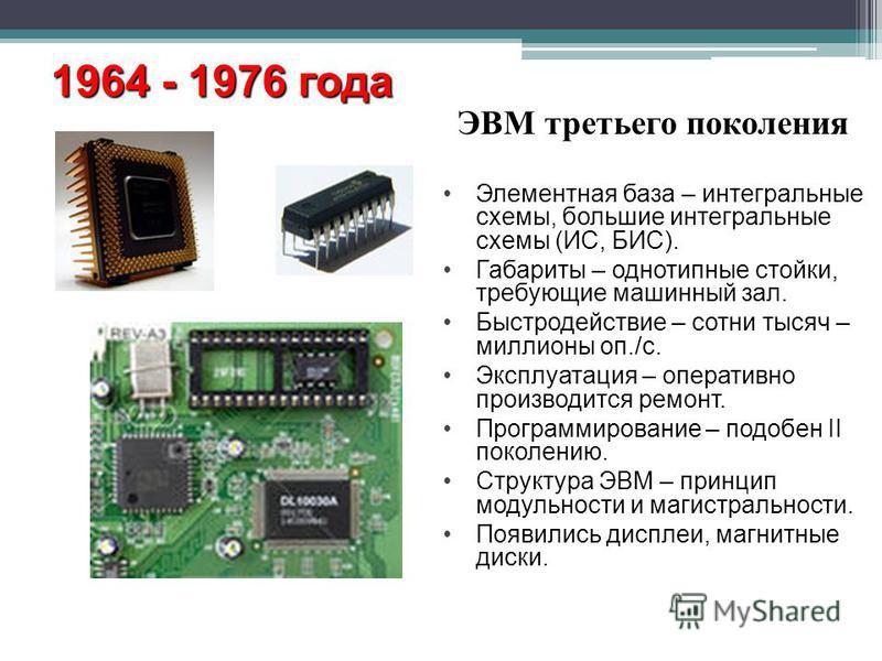 ЭВМ третьего поколения 1964 - 1976 года Элементная база – интегральные схемы, большие интегральные схемы (ИС, БИС). Габариты – однотипные стойки, требующие машинный зал. Быстродействие – сотни тысяч – миллионы оп./с. Эксплуатация – оперативно произво