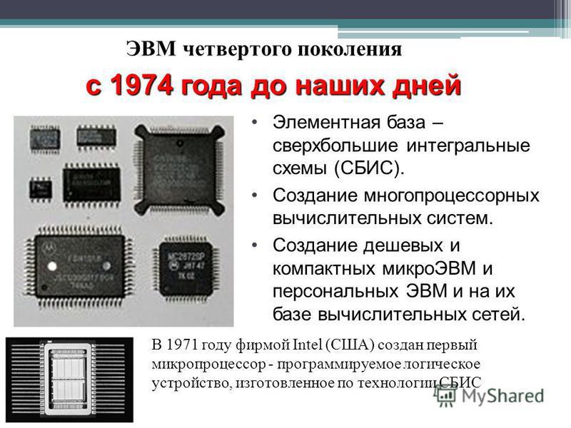 ЭВМ четвертого поколения с 1974 года до наших дней В 1971 году фирмой Intel (США) создан первый микропроцессор - программируемое логическое устройство, изготовленное по технологии СБИС Элементная база – сверхбольшие интегральные схемы (СБИС). Создани