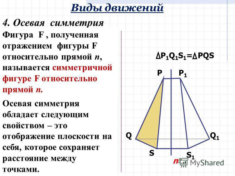 3. Центральная симметрия М1М1 М N N1N1 K K1K1 O M 1 N 1 K 1 = MNK Центральная симметрия является движением, изменяющим направления на противоположные. Основное свойство центральной симметрии: Виды движений