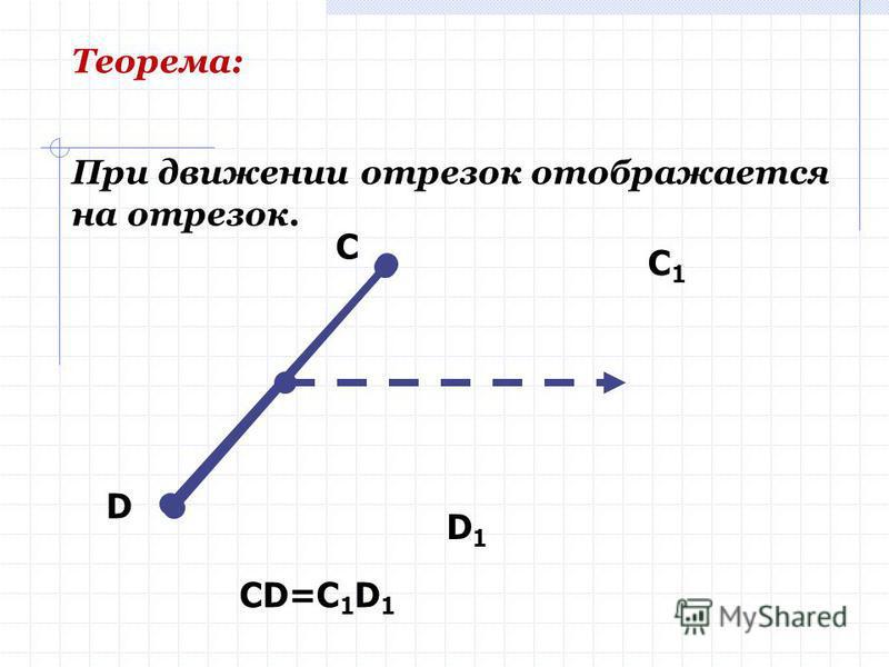 Определение Отображение, при котором сохраняется расстояние между точками, называется ДВИЖЕНИЕМ (перемещением).