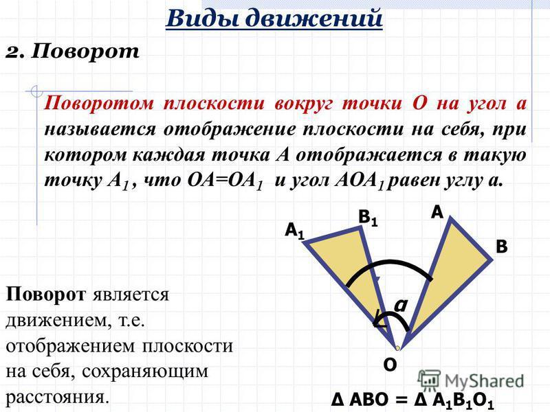 1. Параллельный перенос Виды движений а A BC A1A1 B1B1 C1C1 АВС = А 1 В 1 С 1 Параллельным переносом фигуры на некоторый вектор называется отображение плоскости на себя, сохраняющее расстояние. Параллельный перенос задается вектором переноса.