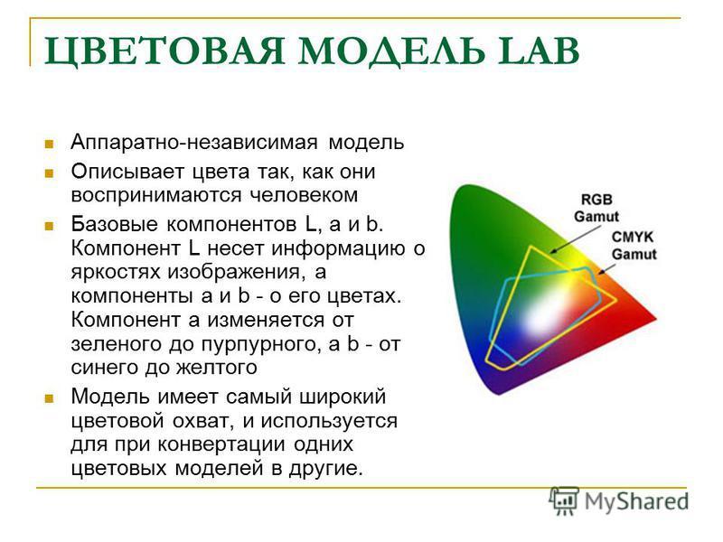 ЦВЕТОВАЯ МОДЕЛЬ LAB Аппаратно-независимая модель Описывает цвета так, как они воспринимаются человеком Базовые компонентов L, a и b. Компонент L несет информацию о яркостях изображения, а компоненты а и b - о его цветах. Компонент а изменяется от зел