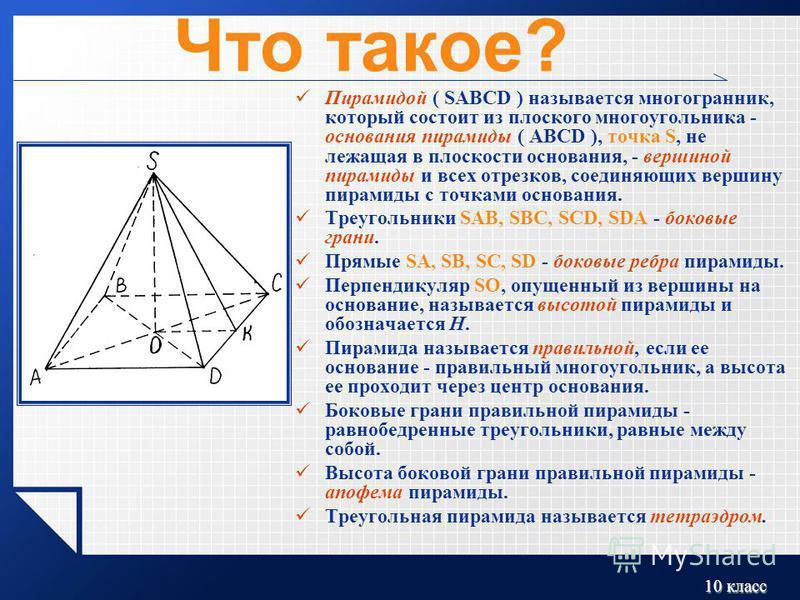 10 класс Что такое? Пирамидой ( SABCD ) называется многогранник, который состоит из плоского многоугольника - основания пирамиды ( ABCD ), точка S, не лежащая в плоскости основания, - вершиной пирамиды и всех отрезков, соединяющих вершину пирамиды с