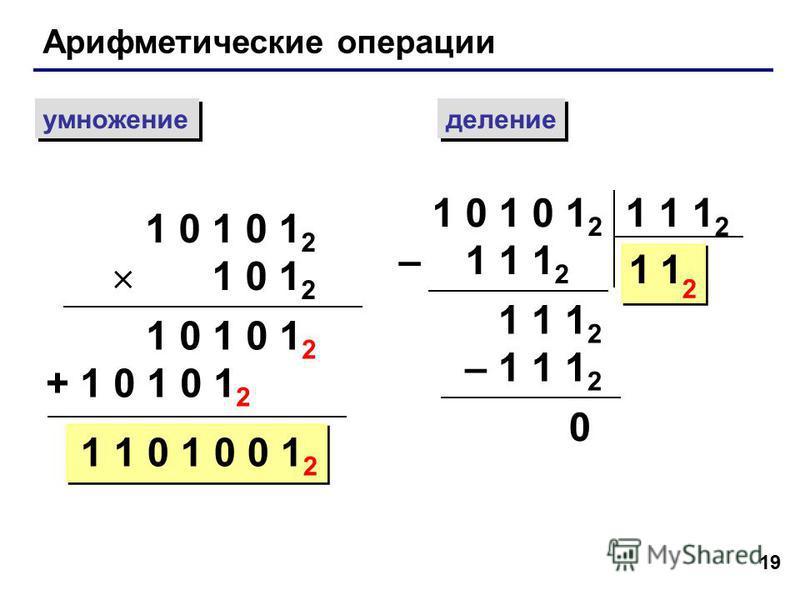 19 Арифметические операции умножение деление 1 0 1 0 1 2 1 0 1 2 1 0 1 0 1 2 + 1 0 1 0 1 2 1 1 0 1 0 0 1 2 1 0 1 0 1 2 – 1 1 1 2 1 1 1 2 11 2 – 1 1 1 2 0