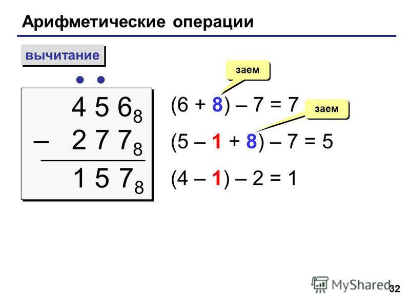 32 Арифметические операции вычитание 4 5 6 8 – 2 7 7 8 4 5 6 8 – 2 7 7 8 (6 + 8) – 7 = 7 (5 – 1 + 8) – 7 = 5 (4 – 1) – 2 = 1 заем 7878 15