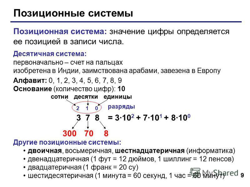 9 Позиционные системы Позиционная система: значение цифры определяется ее позицией в записи числа. Десятичная система: первоначально – счет на пальцах изобретена в Индии, заимствована арабами, завезена в Европу Алфавит: 0, 1, 2, 3, 4, 5, 6, 7, 8, 9 О
