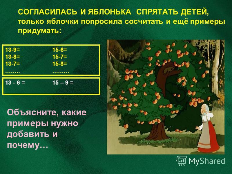 СОГЛАСИЛАСЬ И ЯБЛОНЬКА СПРЯТАТЬ ДЕТЕЙ, только яблочки попросила сосчитать и ещё примеры придумать: 13-9= 15-6= 13-8= 15-7= 13-7= 15-8= …….. ……… Объясните, какие примеры нужно добавить и почему… 13 - 6 = 15 – 9 =