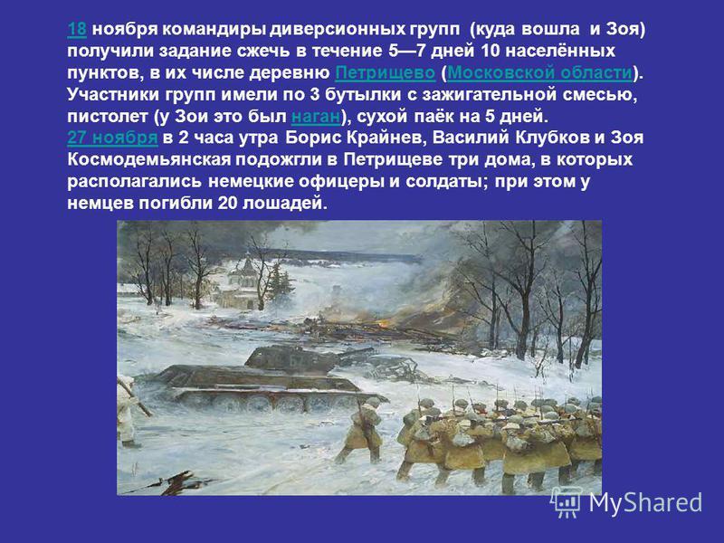 1818 ноября командиры диверсионных групп (куда вошла и Зоя) получили задание сжечь в течение 57 дней 10 населённых пунктов, в их числе деревню Петрищево (Московской области). Участники групп имели по 3 бутылки с зажигательной смесью, пистолет (у Зои