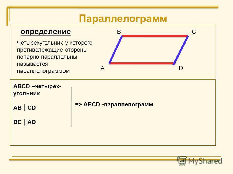 Параллелограмм А ВС D ABCD –четырех- угольник AB CD BC AD определение Четырехугольник у которого противолежащие стороны попарно параллельны называется параллелограммом => ABCD -параллелограмм