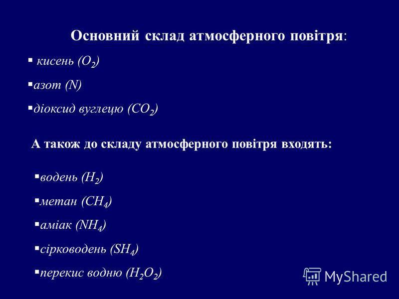 Основний склад атмосферного повітря: кисень (О 2 ) азот (N) діоксид вуглецю (CO 2 ) А також до складу атмосферного повітря входять: водень (Н 2 ) метан (СН 4 ) аміак (NH 4 ) сірководень (SH 4 ) перекис водню (Н 2 О 2 )