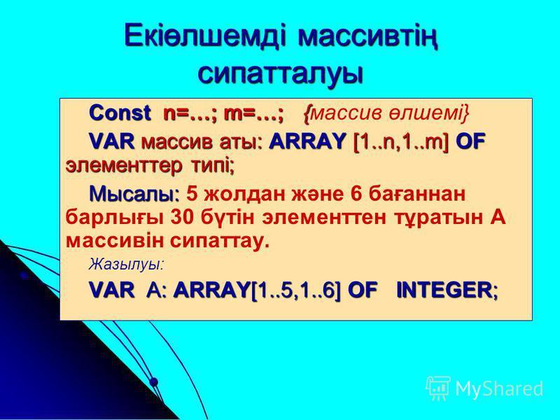 Екіөлшемді массивтің сипатталуы Const n=…; m=…; { Const n=…; m=…; {массив өлшемі} VAR массив аты: ARRAY [1..n,1..m] OF элементтер типі; Мысалы: Мысалы: 5 жолдан және 6 бағаннан барлығы 30 бүтін элементтен тұратын А массивін сипаттау. Жазылуы: VAR А: