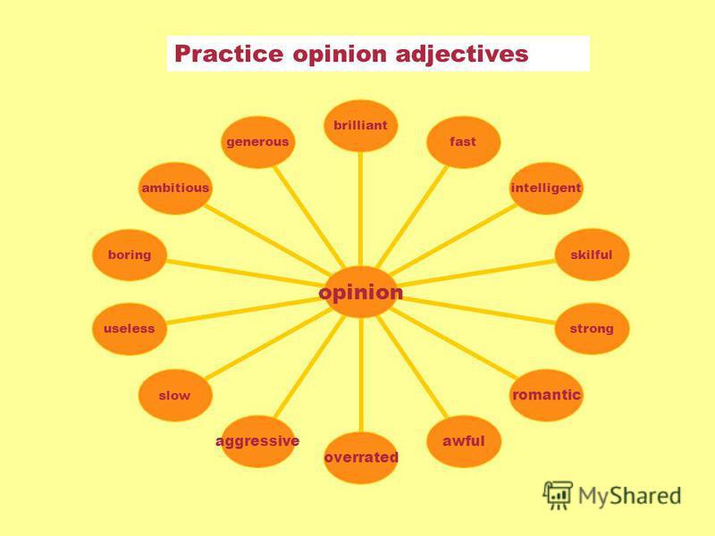 Practice opinion adjectives opinion brilliantfastintelligentskilfulstrongromanticawfuloverratedaggressiveslowuselessboringambitiousgenerous