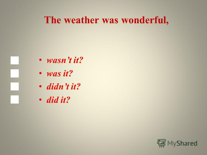 The weather was wonderful, wasnt it? was it? didnt it? did it?