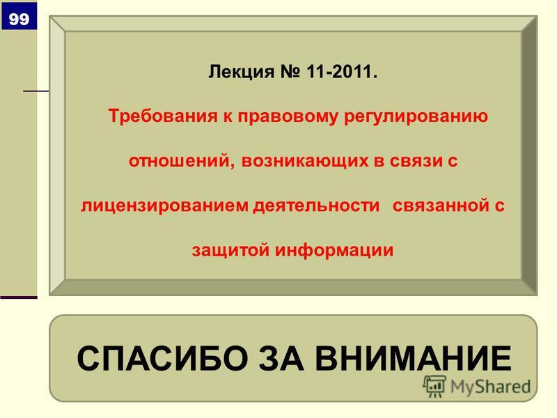 СПАСИБО ЗА ВНИМАНИЕ 99 Лекция 11-2011. Требования к правовому регулированию отношений, возникающих в связи с лицензированием деятельности связанной с защитой информации