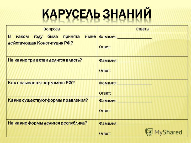 Вопросы Ответы В каком году была принята ныне действующая Конституция РФ? Фамилия:________________ Ответ: На какие три ветви делится власть? Фамилия:________________ Ответ: Как называется парламент РФ? Фамилия:________________ Ответ: Какие существуют