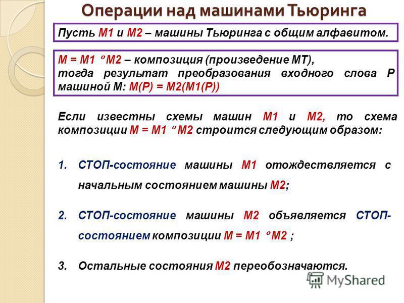Операции над машинами Тьюринга Пусть М1 и М2 – машины Тьюринга с общим алфавитом. М = М1 М2 – композиция (произведение МТ), тогда результат преобразования входного слова P машиной М: М(Р) = М2(М1(Р)) Если известны схемы машин М1 и М2, то схема композ