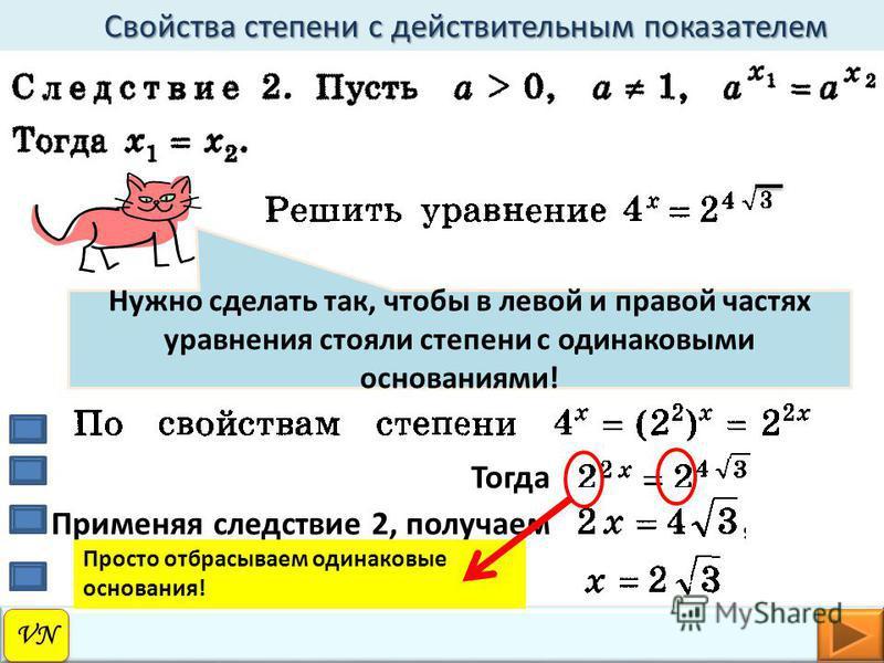 VN Свойства степени с действительным показателем Свойства степени с действительным показателем Нужно сделать так, чтобы в левой и правой частях уравнения стояли степени с одинаковыми основаниями! Тогда Применяя следствие 2, получаем Просто отбрасывае