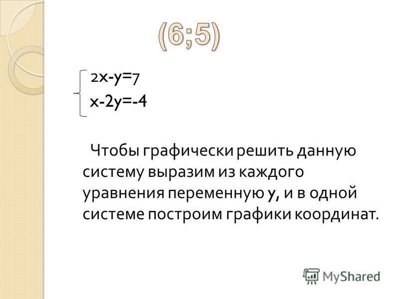 2x-y=7 x-2y=-4 Чтобы графически решить данную систему выразим из каждого уравнения переменную y, и в одной системе построим графики координат.