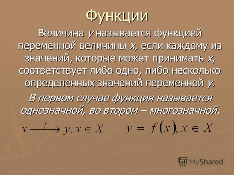 Функции Величина у называется функцией переменной величины х, если каждому из значений, которые может принимать х, соответствует либо одно, либо несколько определенных значений переменной у. В первом случае функция называется однозначной, во втором –