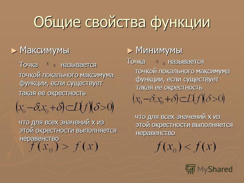 Общие свойства функции Максимумы Максимумы Точка называется Точка называется точкой локального максимума функции, если существует точкой локального максимума функции, если существует такая ее окрестность такая ее окрестность что для всех значений х и
