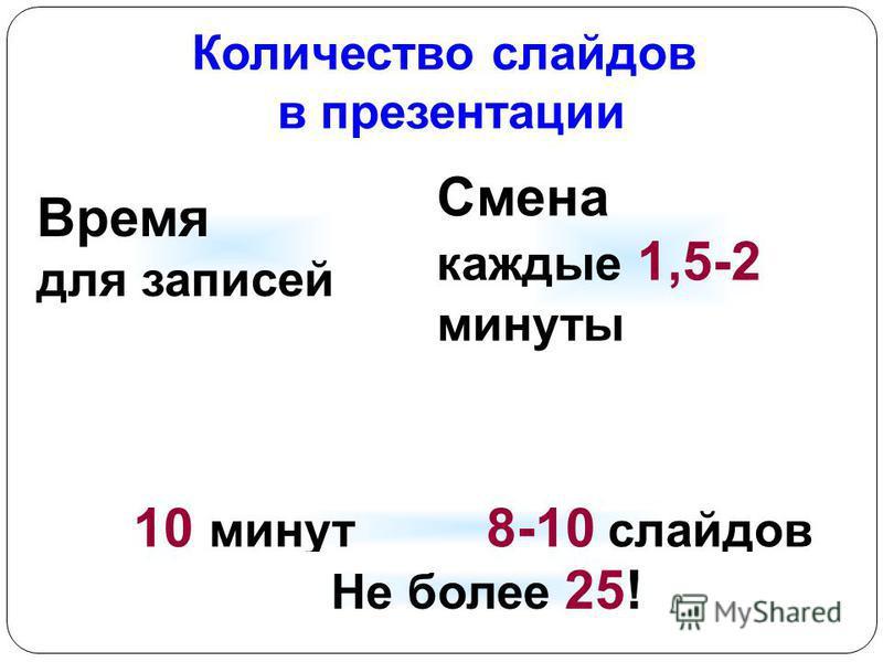 Количество слайдов в презентации Смена каждые 1,5-2 минуты Время для записей 10 минут 8-10 слайдов Не более 25!