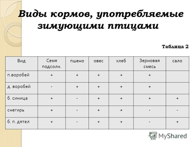 Виды кормов, употребляемые зимующими птицами Таблица 2 Вид Семя подсолн. пшеноовесхлеб Зерновая смесь сало п. воробей +++++ д. воробей -++++ б. синица +-++++ снегирь+-++-- б. п. дятел +-++-+