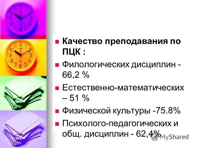 Качество преподавания по ПЦК : Филологических дисциплин - 66,2 % Естественно-математических – 51 % Физической культуры -75.8% Психолого-педагогических и общ. дисциплин - 62,4%