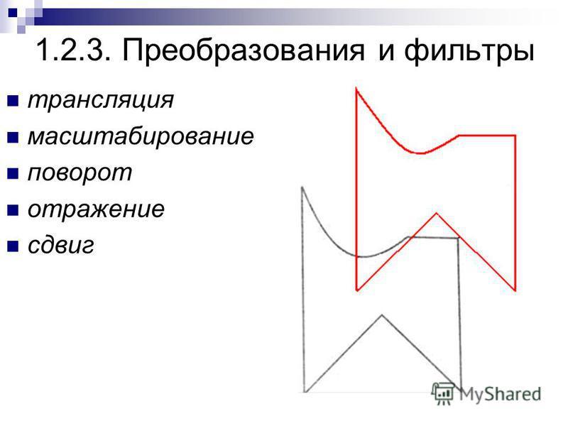 1.2.3. Преобразования и фильтры трансляция масштабирование поворот отражение сдвиг